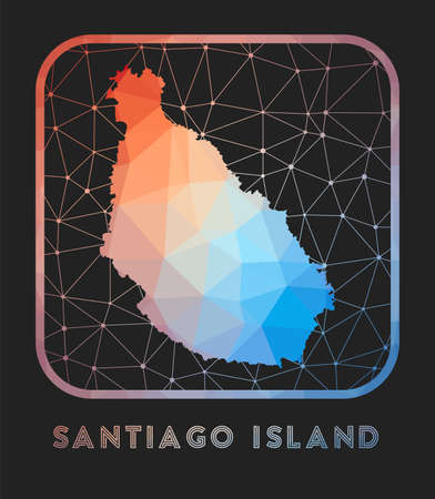 Santiago Island map design. Vector low poly map of the island. Santiago Island icon in geometric style. The island shape with polygnal gradient and mesh on dark background. Vectores