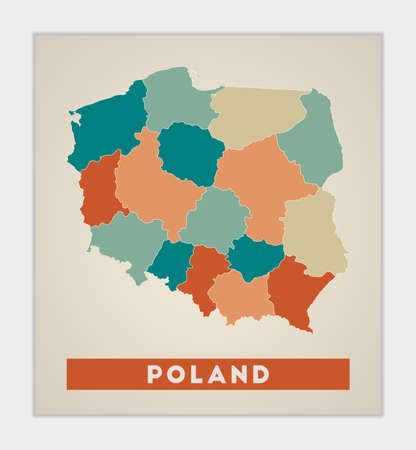 Poland poster. Map of the country with colorful regions. Shape of Poland with country name. Trendy vector illustration.