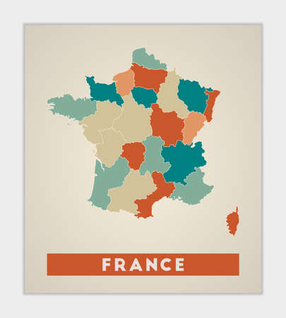 France poster. Map of the country with colorful regions. Shape of France with country name. Neat vector illustration.
