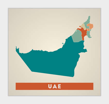 UAE poster. Map of the country with colorful regions. Shape of UAE with country name. Charming vector illustration.