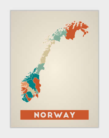 Norway poster. Map of the country with colorful regions. Shape of Norway with country name. Cool vector illustration. Vectores