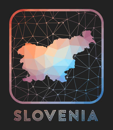 Slovenia map design. Vector low poly map of the country. Slovenia icon in geometric style. The country shape with polygnal gradient and mesh on dark background. Vectores
