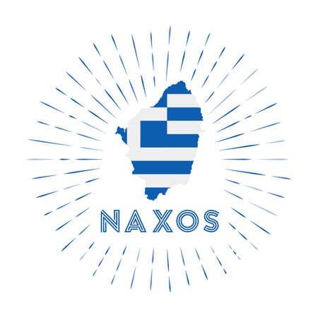 Naxos sunburst badge. The island sign with map of Naxos with Greek flag. Colorful rays around the logo. Vector illustration. Vectores