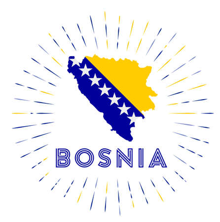 Bosnia sunburst badge. The country sign with map of Bosnia with Bosnian, Herzegovinian flag. Colorful rays around the logo. Vector illustration.