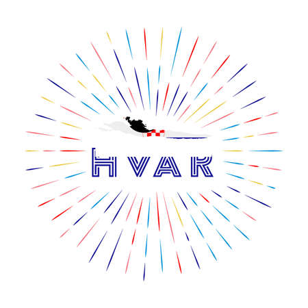 Hvar sunburst badge. The island sign with map of Hvar with Croatian flag. Colorful rays around the logo. Vector illustration. Vectores