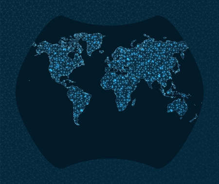 Network map of the world. Larrivee projection. World Network. Radiant connections map. Vector illustration.