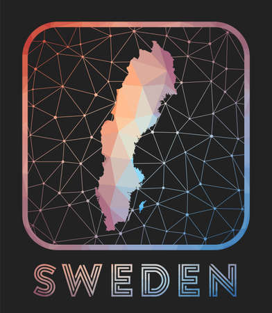 Sweden map design. Vector low poly map of the country. Sweden icon in geometric style. The country shape with polygnal gradient and mesh on dark background.
