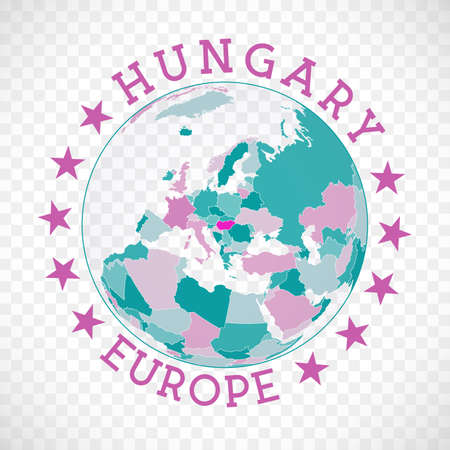 Hungary round logo. Badge of country with map of Hungary in world context. Country sticker stamp with globe map and round text. Trendy vector illustration. Vectores