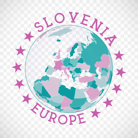 Slovenia round logo. Badge of country with map of Slovenia in world context. Country sticker stamp with globe map and round text. Awesome vector illustration.