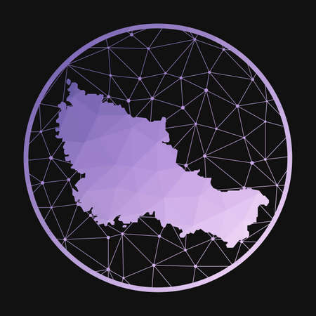 Belle Ile icon. Vector polygonal map of the island. Belle Ile icon in geometric style. The island map with purple low poly gradient on dark background.