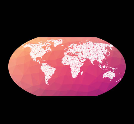 World network map. Wagner VI projection. Wired globe in Wagner 6 projection on geometric low poly background. Creative vector illustration.