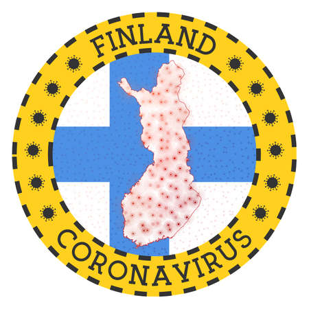 Coronavirus in Finland sign. Round badge with shape of Finland. Yellow country lock down emblem with title and virus signs. Vector illustration.