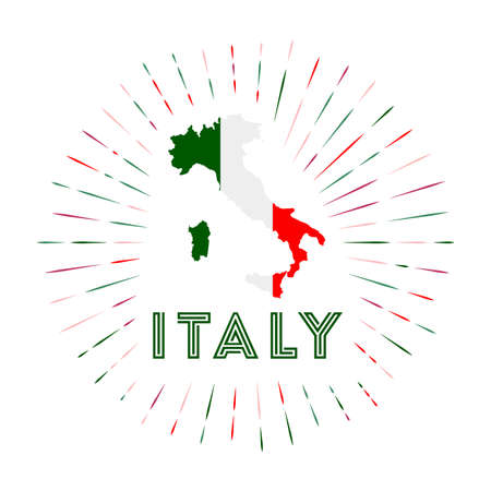 Italy sunburst badge. The country sign with map of Italy with Italian flag. Colorful rays around the logo. Vector illustration.