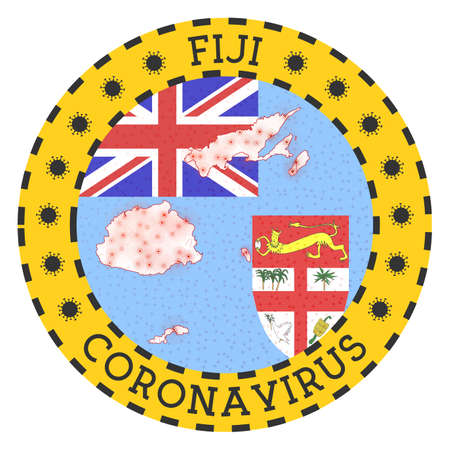 Coronavirus in Fiji sign. Round badge with shape of Fiji. Yellow country lock down emblem with title and virus signs. Vector illustration.