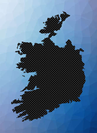 Ireland geometric map. Stencil shape of Ireland in low poly style. Elegant country vector illustration.