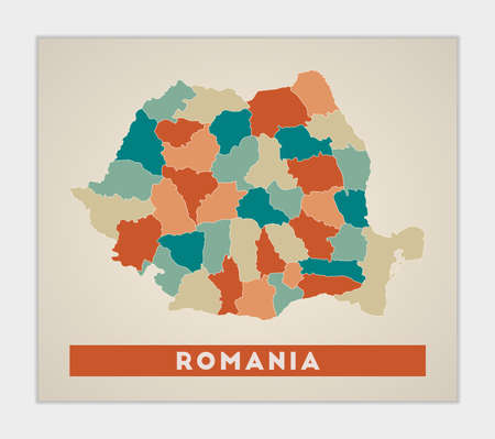 Romania poster. Map of the country with colorful regions. Shape of Romania with country name. Authentic vector illustration.