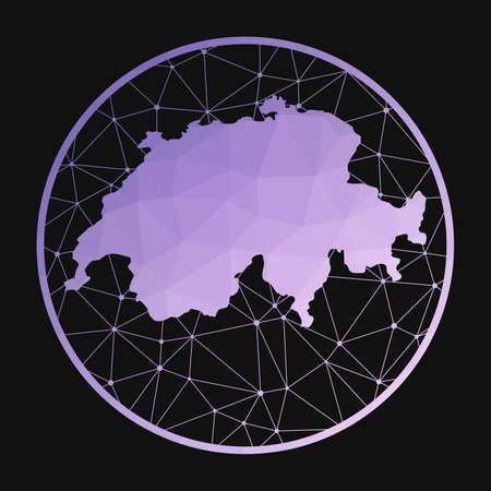 Switzerland icon. Vector polygonal map of the country. Switzerland icon in geometric style. The country map with purple low poly gradient on dark background.