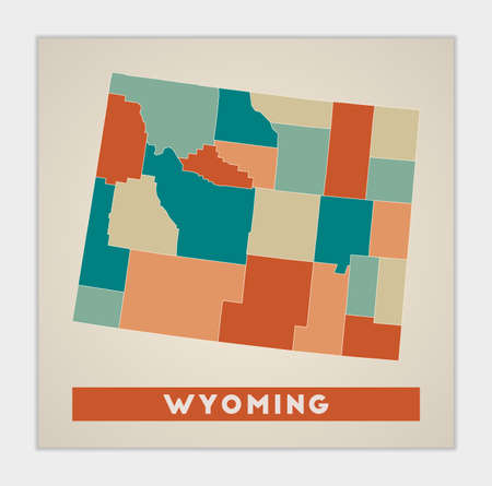Wyoming poster. Map of the us state with colorful regions. Shape of Wyoming with us state name. Charming vector illustration.