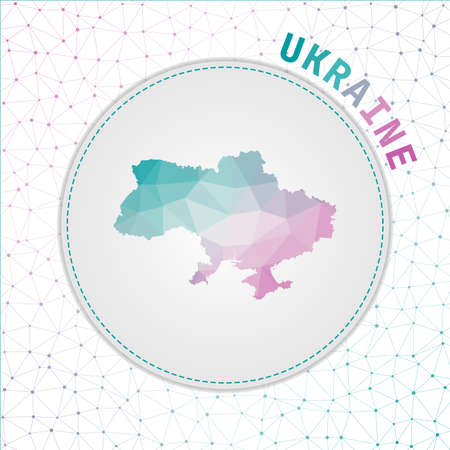 Vector polygonal Ukraine map. Map of the country with network mesh background. Ukraine illustration in technology, internet, network, telecommunication concept style . Powerful vector illustration.
