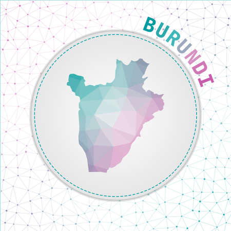 Vector polygonal Burundi map. Map of the country with network mesh background. Burundi illustration in technology, internet, network, telecommunication concept style . Radiant vector illustration.