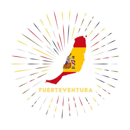 Fuerteventura sunburst badge. The island sign with map of Fuerteventura with Spanish flag. Colorful rays around the logo. Vector illustration. Vectores