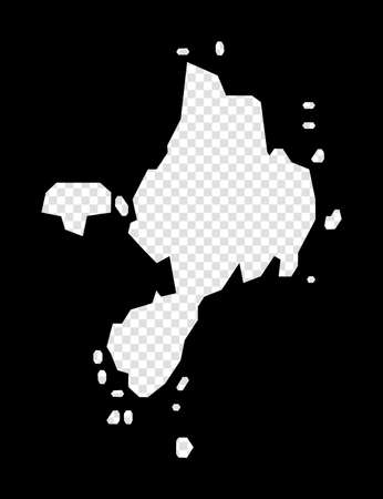 Stencil map of Sark. Simple and minimal transparent map of Sark. Black rectangle with cut shape of the island. Vibrant vector illustration.