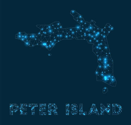 Peter Island network map. Abstract geometric map of the island. Internet connections and telecommunication design. Creative vector illustration. Çizim
