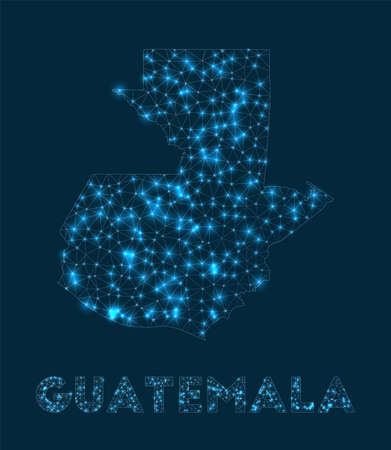 Guatemala network map. Abstract geometric map of the country. Internet connections and telecommunication design. Authentic vector illustration.