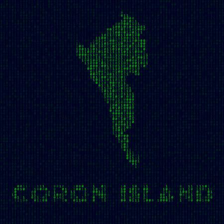Digital Coron Island logo. Island symbol in hacker style. Binary code map of Coron Island with island name. Charming vector illustration.