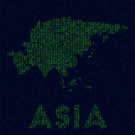 Digital Asia logo. Continent symbol in hacker style. Binary code map of Asia with continent name. Appealing vector illustration.