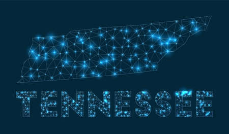 Tennessee network map. Abstract geometric map of the us state. Internet connections and telecommunication design. Powerful vector illustration.