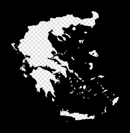 Stencil map of Greece. Simple and minimal transparent map of Greece. Black rectangle with cut shape of the country. Astonishing vector illustration. Vectores