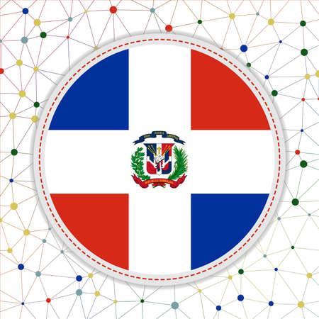 Flag of Dominicana with network background. Dominicana sign. Radiant vector illustration. Ilustração
