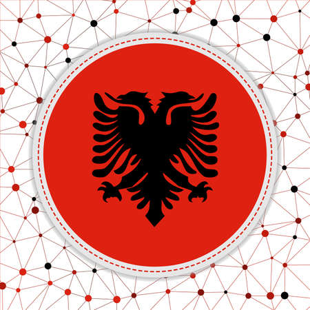 Flag of Albania with network background. Albania sign. Authentic vector illustration. Иллюстрация