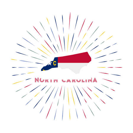 North Carolina sunburst badge. The us state sign with map of North Carolina with state flag. Colorful rays around the logo. Vector illustration. Иллюстрация