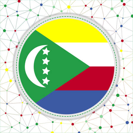 Flag of Comoros with network background. Comoros sign. Attractive vector illustration. Vectores