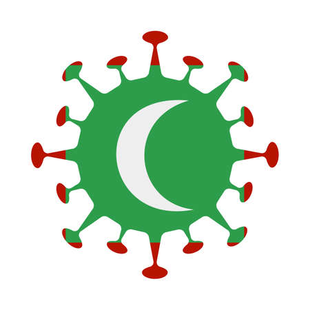 Flag of Maldives in virus shape. Country sign. Vector illustration.