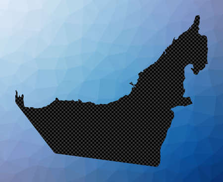 UAE geometric map. Stencil shape of UAE in low poly style. Charming country vector illustration.