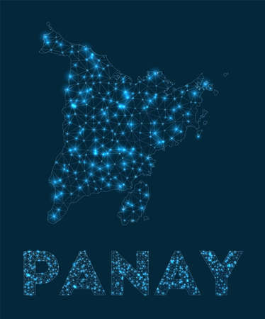 Panay network map. Abstract geometric map of the island. Internet connections and telecommunication design. Authentic vector illustration. Ilustración de vector