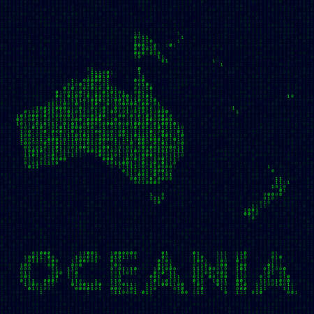 Digital Oceania logo. Continent symbol in hacker style. Binary code map of Oceania with continent name. Attractive vector illustration.