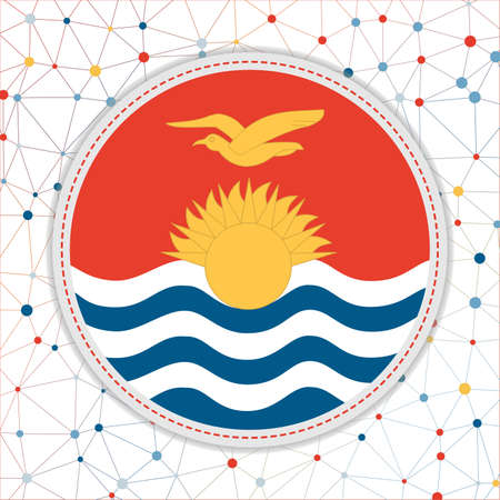 Flag of Kiribati with network background. Kiribati sign. Beautiful vector illustration. Vektoros illusztráció