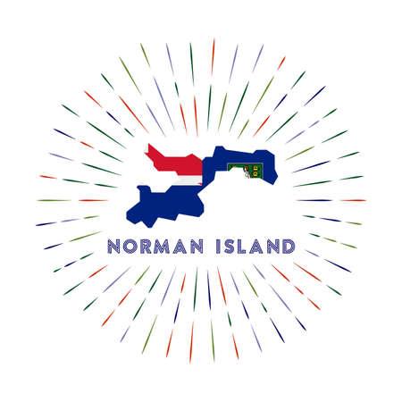Norman Island sunburst badge. The island sign with map of Norman Island with Virgin Islander flag. Colorful rays around the logo. Vector illustration.
