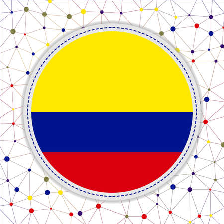 Flag of Colombia with network background. Colombia sign. Astonishing vector illustration.