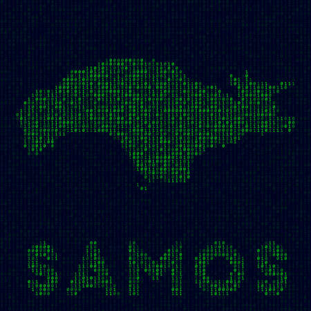 Digital Samos logo. Island symbol in hacker style. Binary code map of Samos with island name. Elegant vector illustration. Vectores