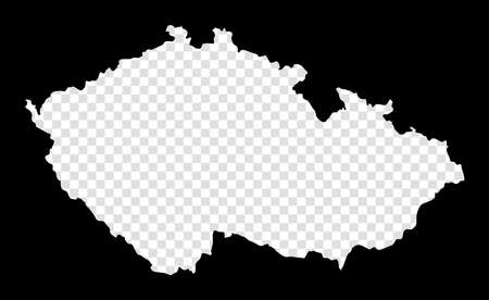 Stencil map of Czech Republic. Simple and minimal transparent map of Czech Republic. Black rectangle with cut shape of the country. Appealing vector illustration. Vectores