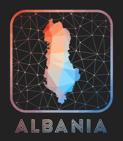 Albania map design. Vector low poly map of the country. Albania icon in geometric style. The country shape with polygnal gradient and mesh on dark background. Illustration
