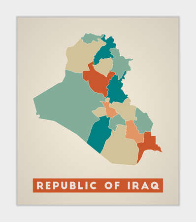 Republic of Iraq poster. Map of the country with colorful regions. Shape of Republic of Iraq with country name. Modern vector illustration.