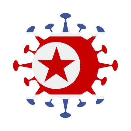 Flag of North Korea in virus shape. Country sign. Vector illustration.