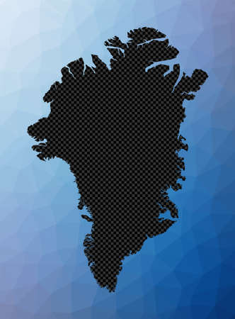 Greenland geometric map. Stencil shape of Greenland in low poly style. Attractive country vector illustration.