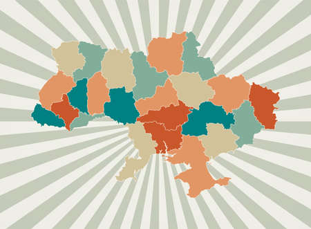 Ukraine map. Poster with map of the country in retro color palette. Shape of Ukraine with sunburst rays background. Vector illustration. Vectores